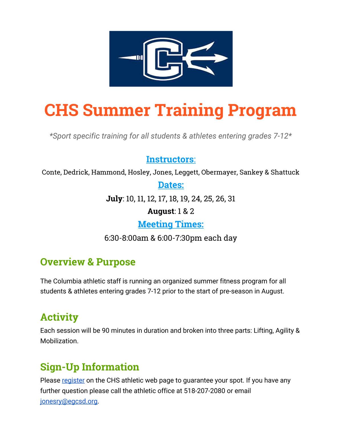 CHS Summer Fitness Training Flyer