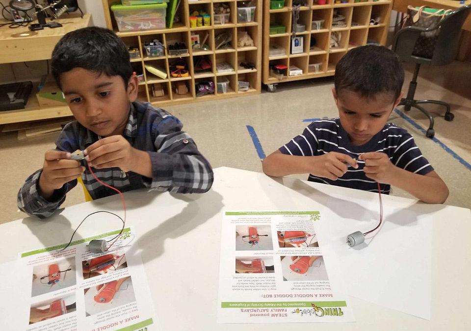 Kindergarten Students Build Robots at Troy Makerspace
