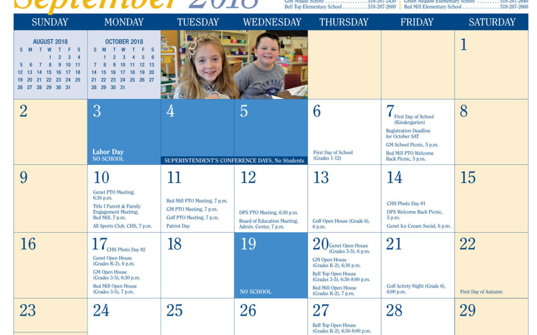 2018-19 District Calendar Released
