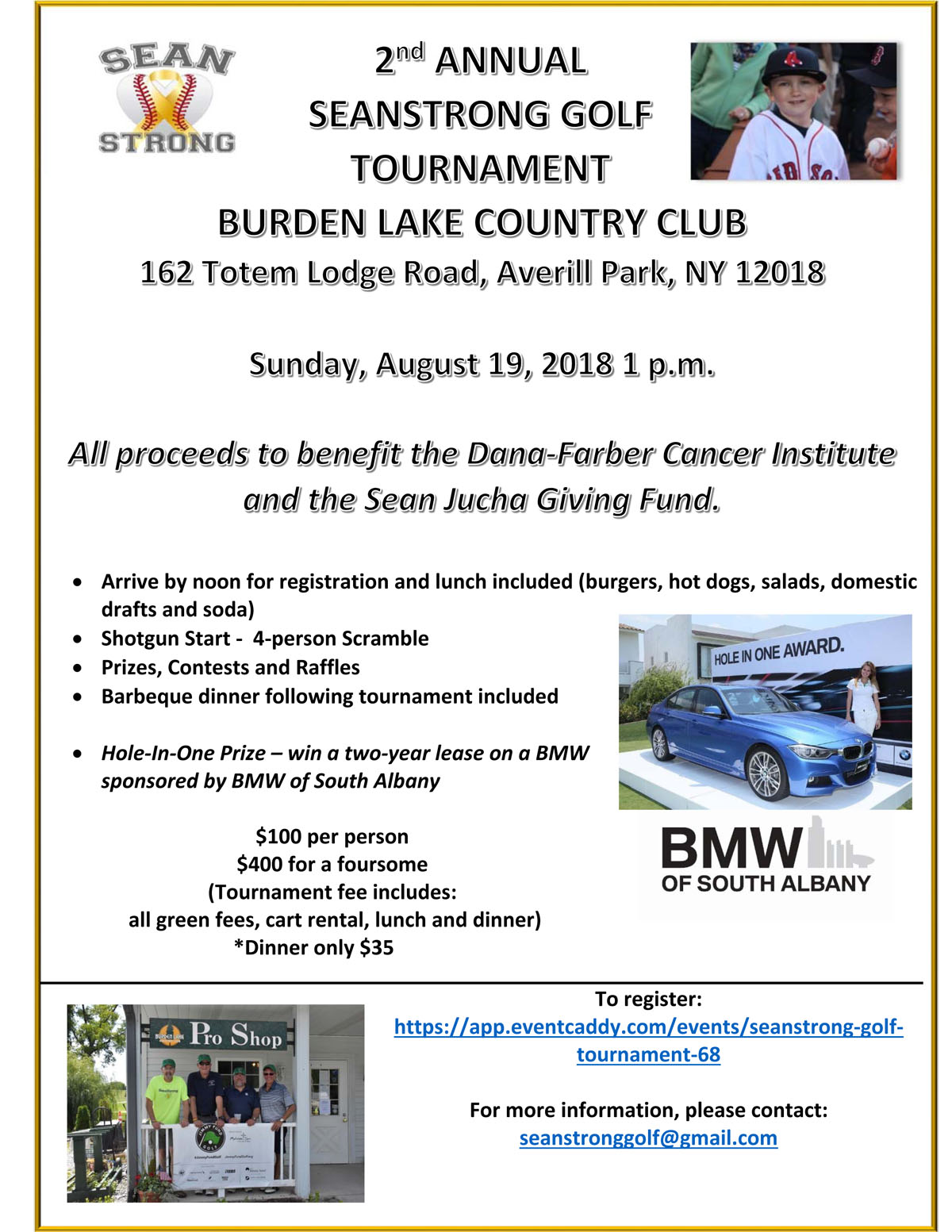 SeanStrong Golf Tournament flier