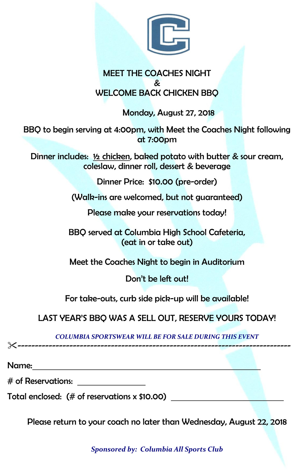 Welcome Back BBQ flier