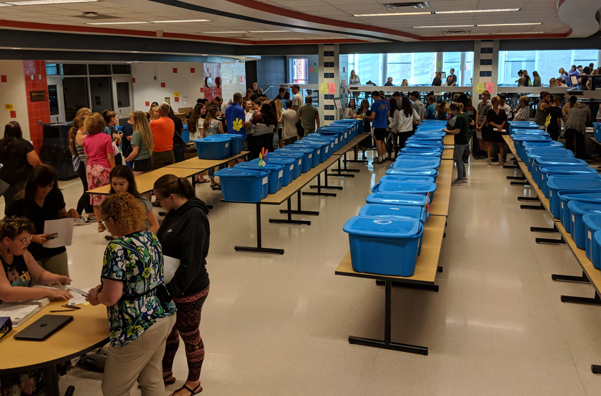 Chromebook distribution in Columbia auditorium