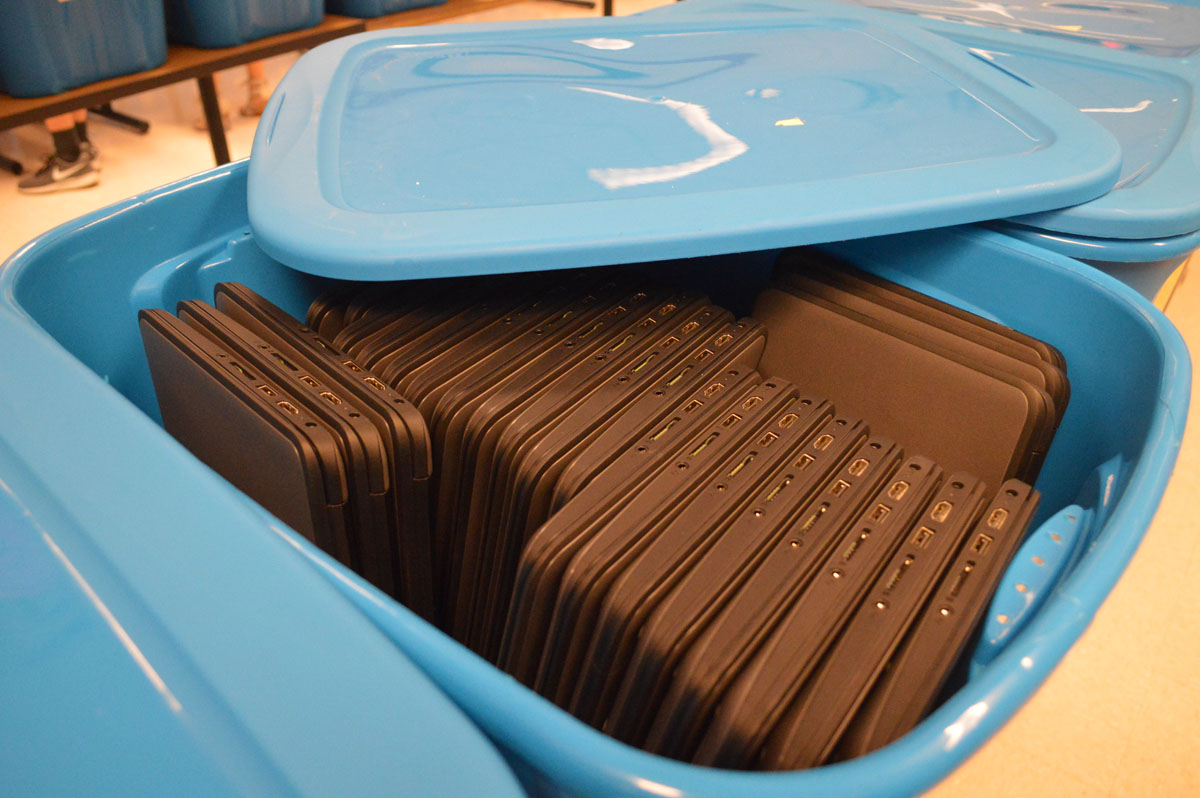Chromebooks in bins