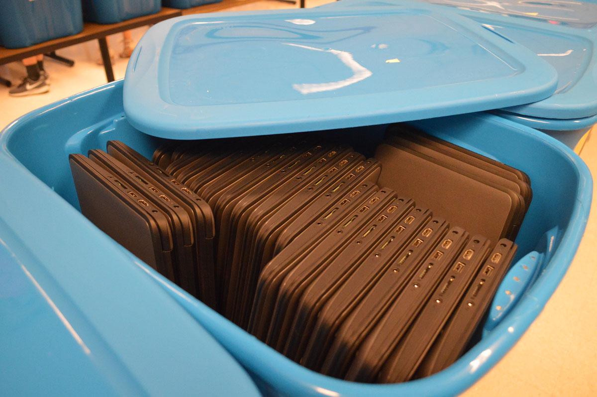 Chromebooks in bins