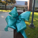 Teal ribbon in front of Goff Middle School