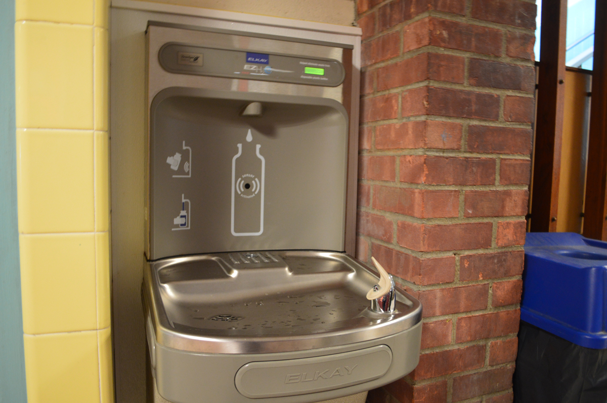 Water fountain with bottle filler