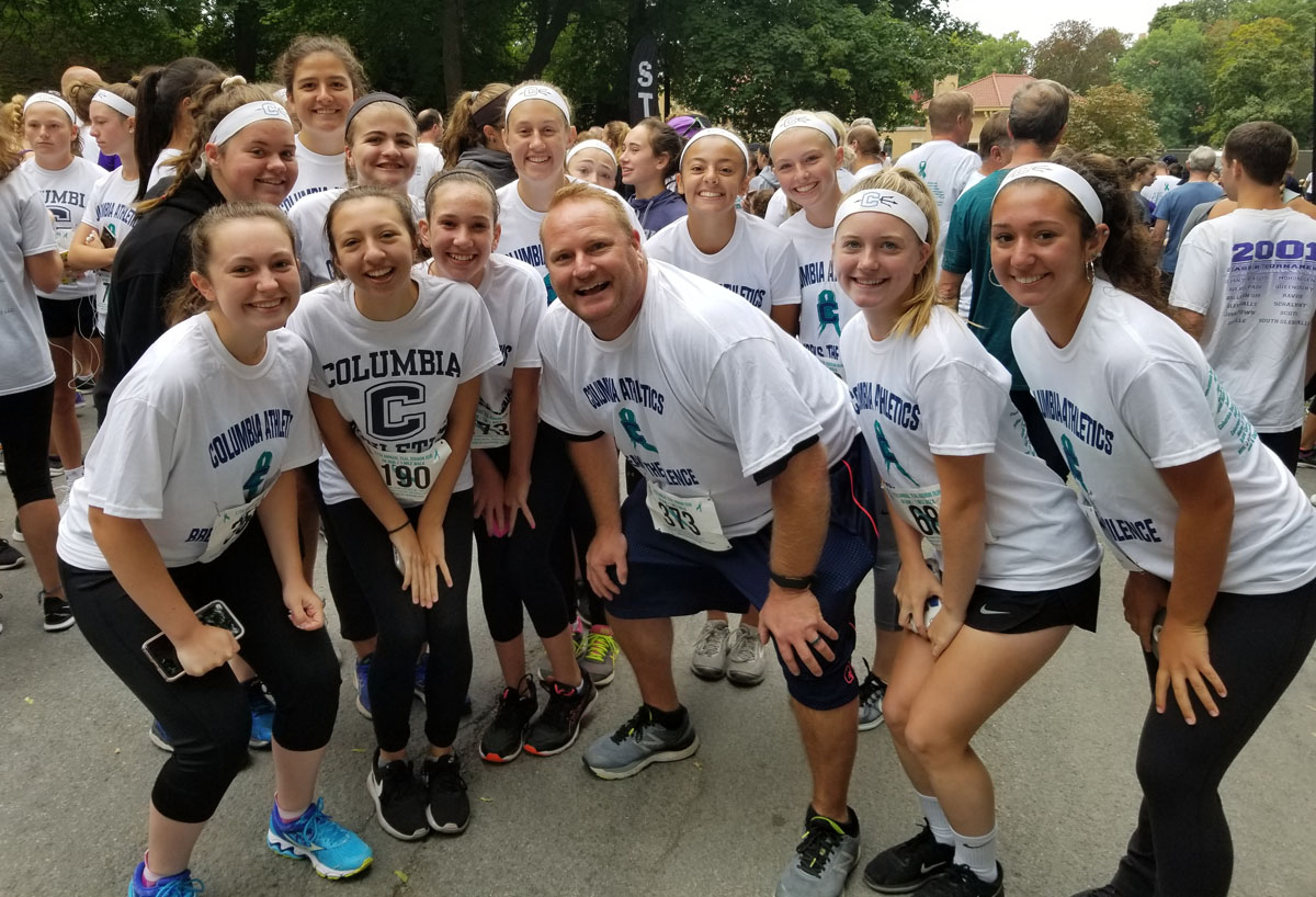 Mr. Leonard with Columbia students at the Teal Ribbon Run