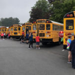 Bus safety drill at Goff Middle School