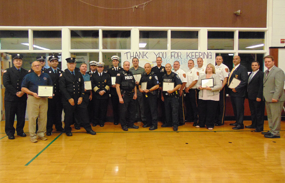 Emergency responders recognized at a Board of Education meeting