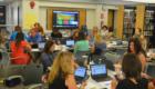 Teachers work together at professional development