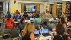 Teachers work together at professional development