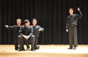 Students rehearsing for Once Upon a Stage