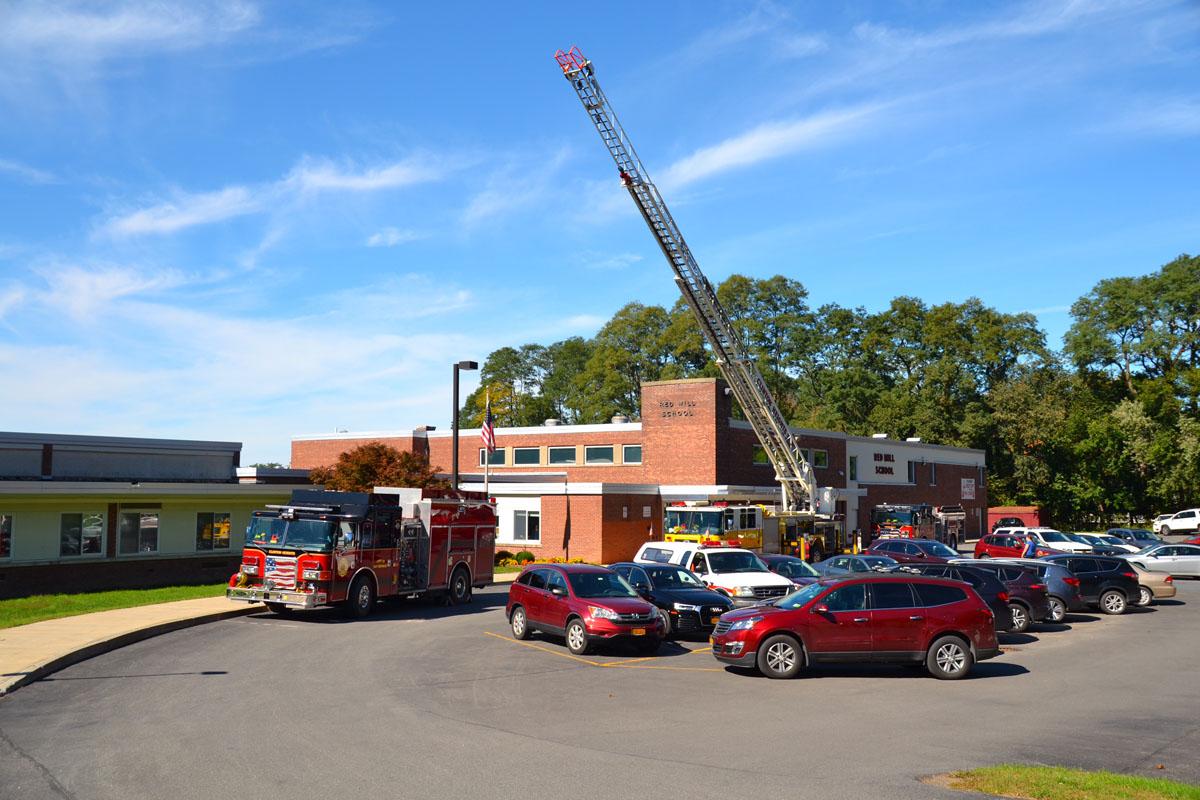 Fire trucks outside Red Mill