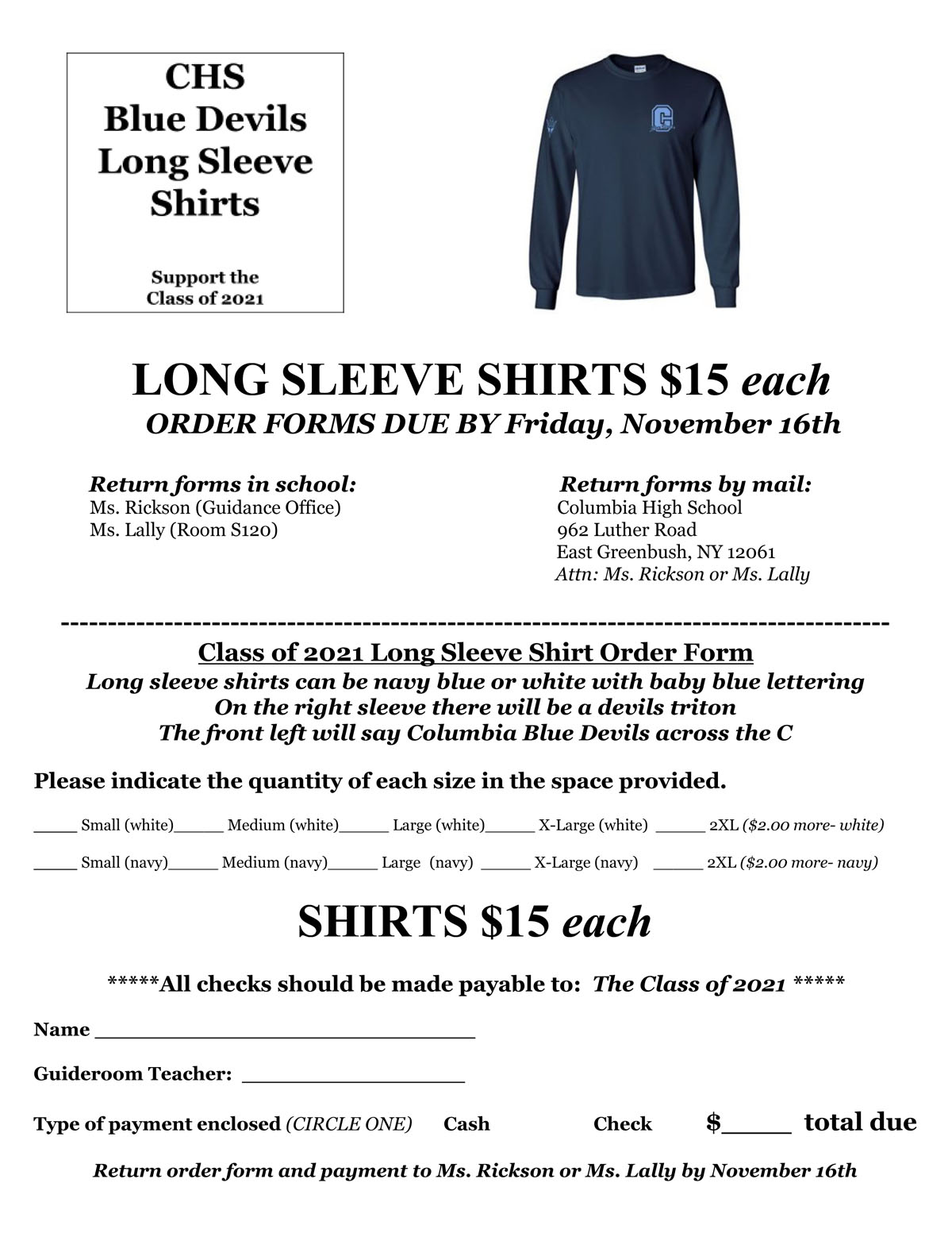 Long Sleeve Shirt Order Form