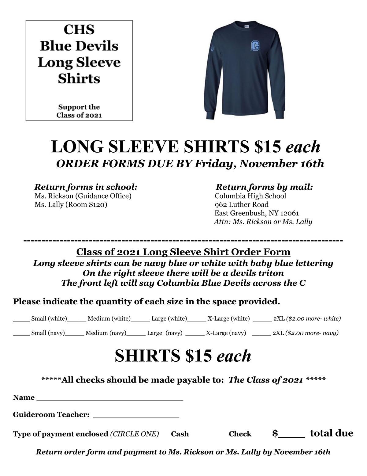 Long Sleeve Shirt Order Form
