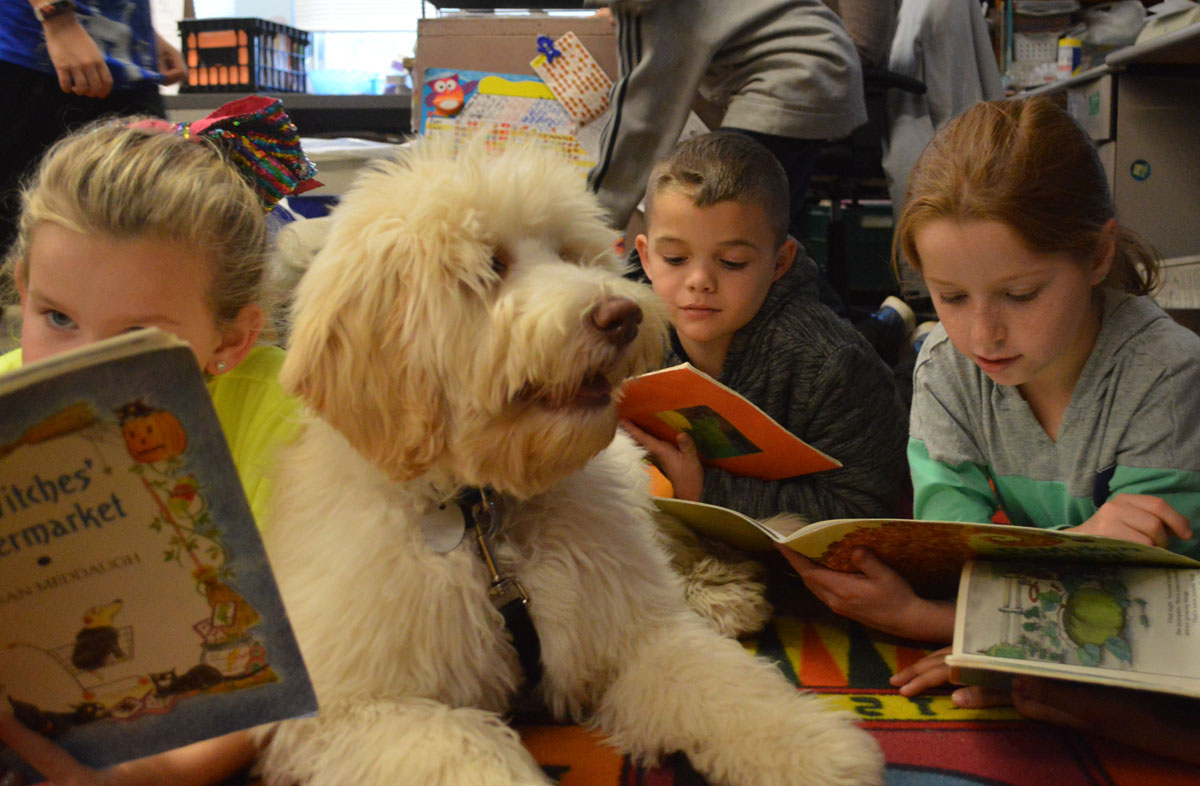 Auggie with students reading
