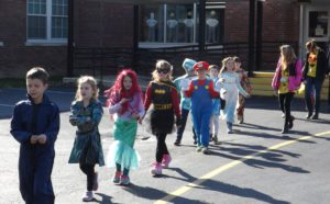 Students marching in costume