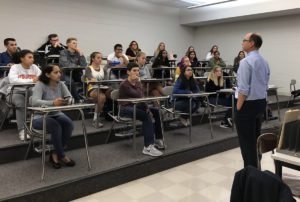 Dr. James Desemone speaks with Columbia students