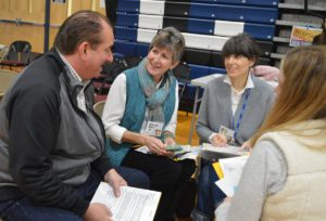 Teachers work together at professional development session