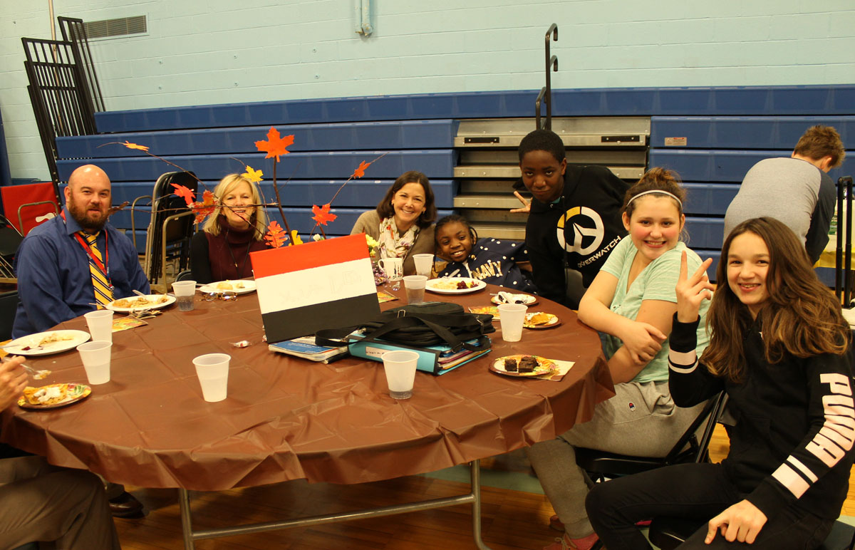 Students and staff at the Goff Thanksgiving Feast