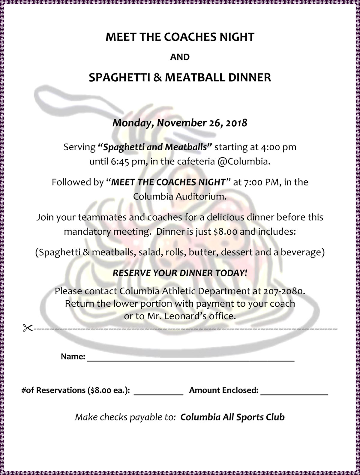 Pasta dinner flyer