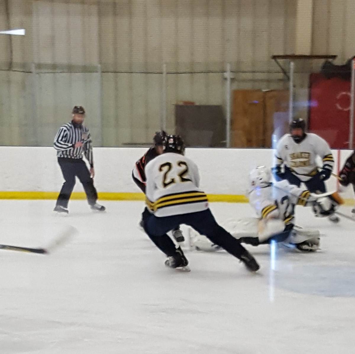 Carson Kehmna makes a defensive play in front of the net.