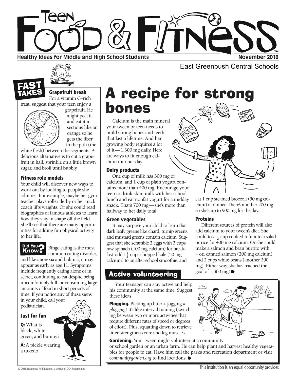 November issue of Food & Fitness newsletter