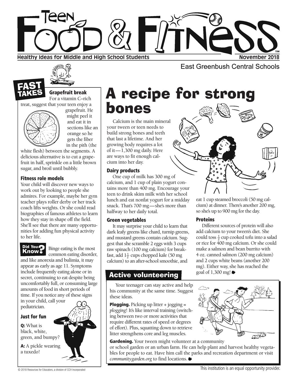 November issue of Food & Fitness newsletter