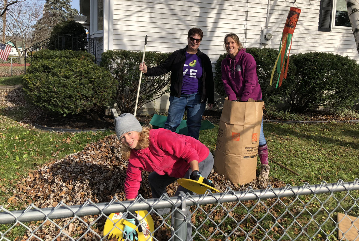 Raking leaves on Veterans Day