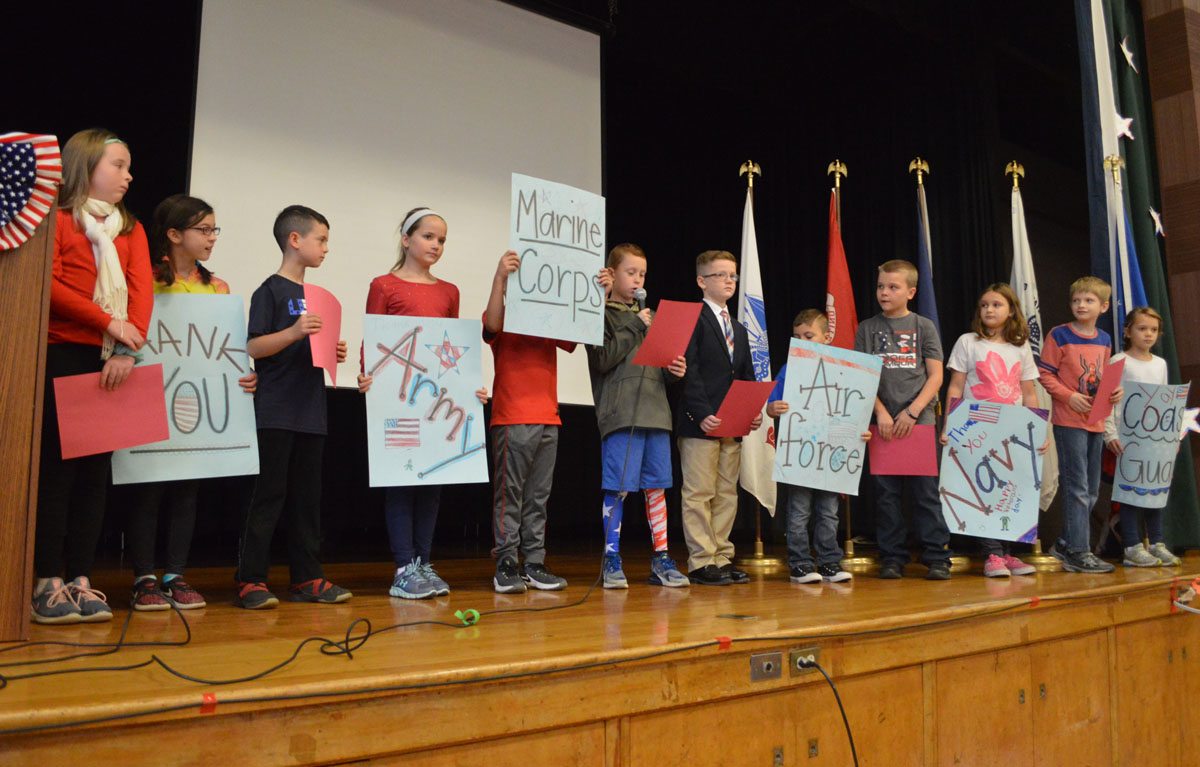 Students at Green Meadow Veterans Day assembly
