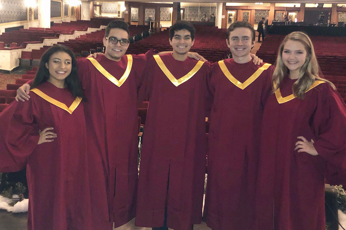 """Columbia students performing at the """"Melodies of Christmas"""" at Proctors Theatre"""
