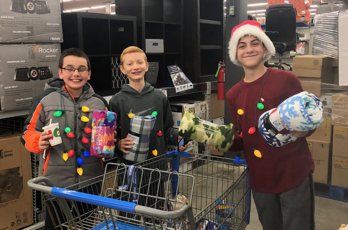 Student shopping for Christmas gifts