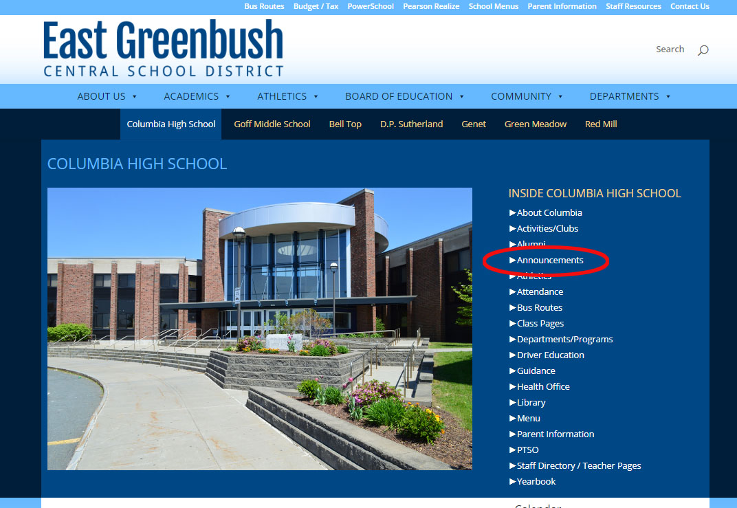 Link circled on Columbia homepage