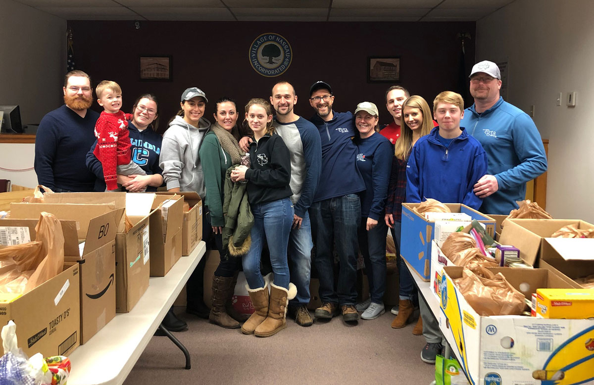 EGTA volunteering at Nassau Food Pantry