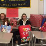 Students with Christmas gifts