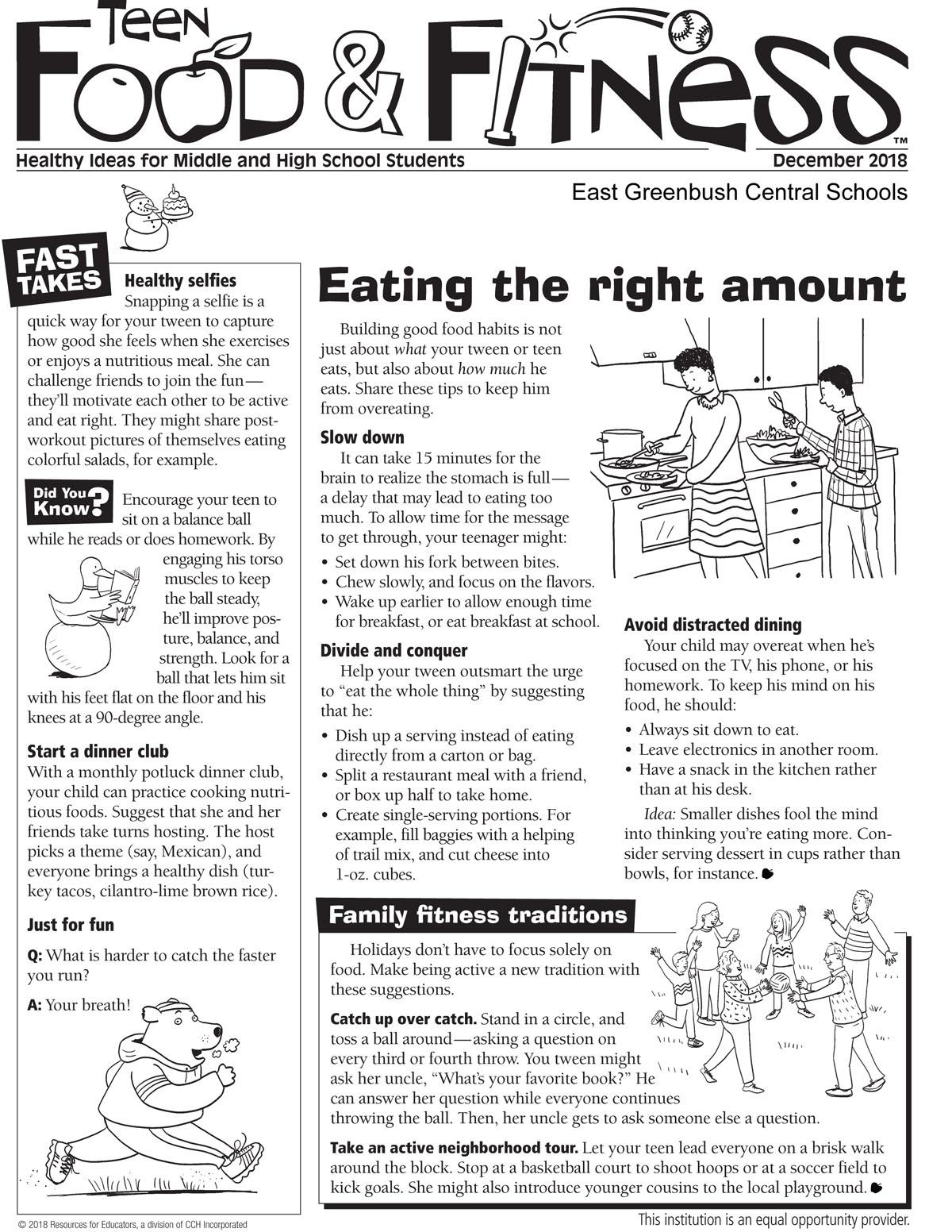 Food & Fitness newsletter December issue