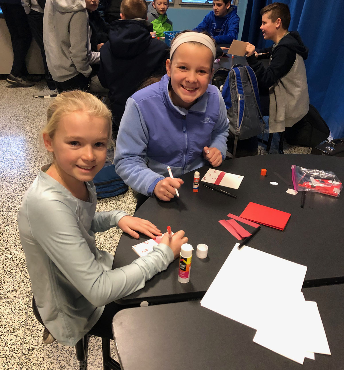Students making holiday cards