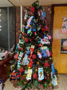 Socks hung from Christmas tree