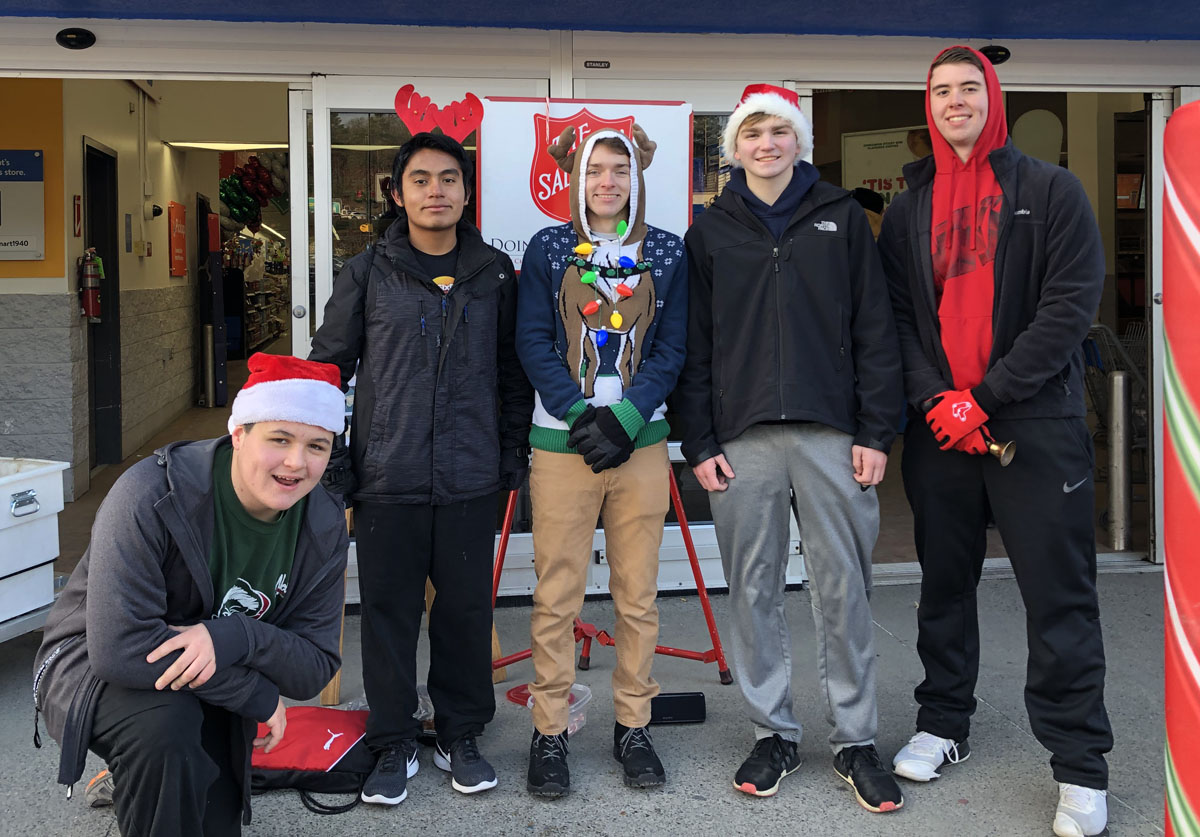 Students collecting money for Salvation Army outside of Walmart