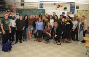 Samantha DiMascio with Columbia High School English teacher Meagan Asenbauer and her Journalism class.