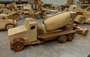Wooden toy cement mixer