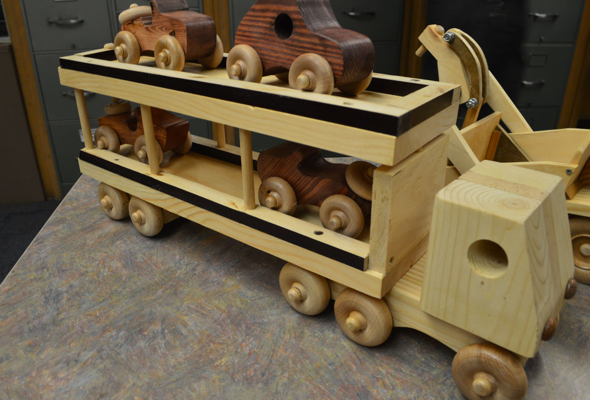 Wooden car carrier truck