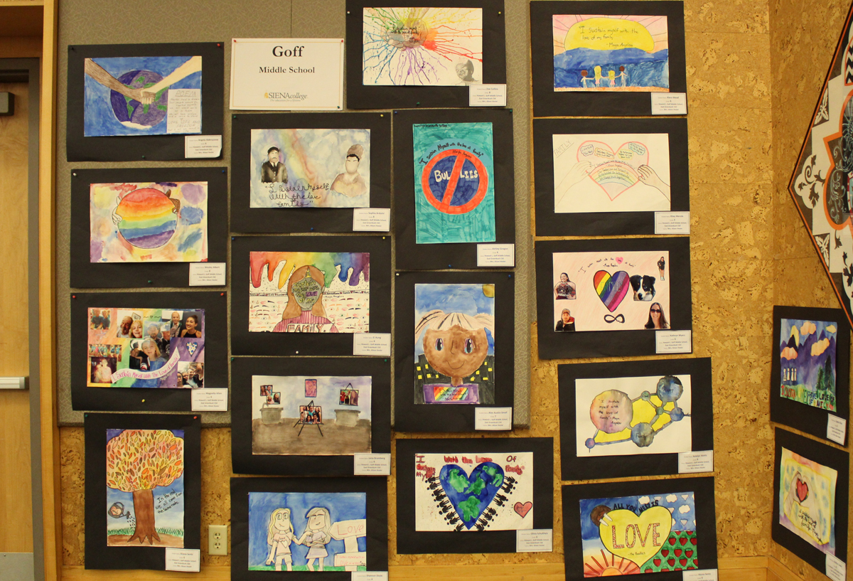 Student artwork at the MLK Art Exhibit at Siena College