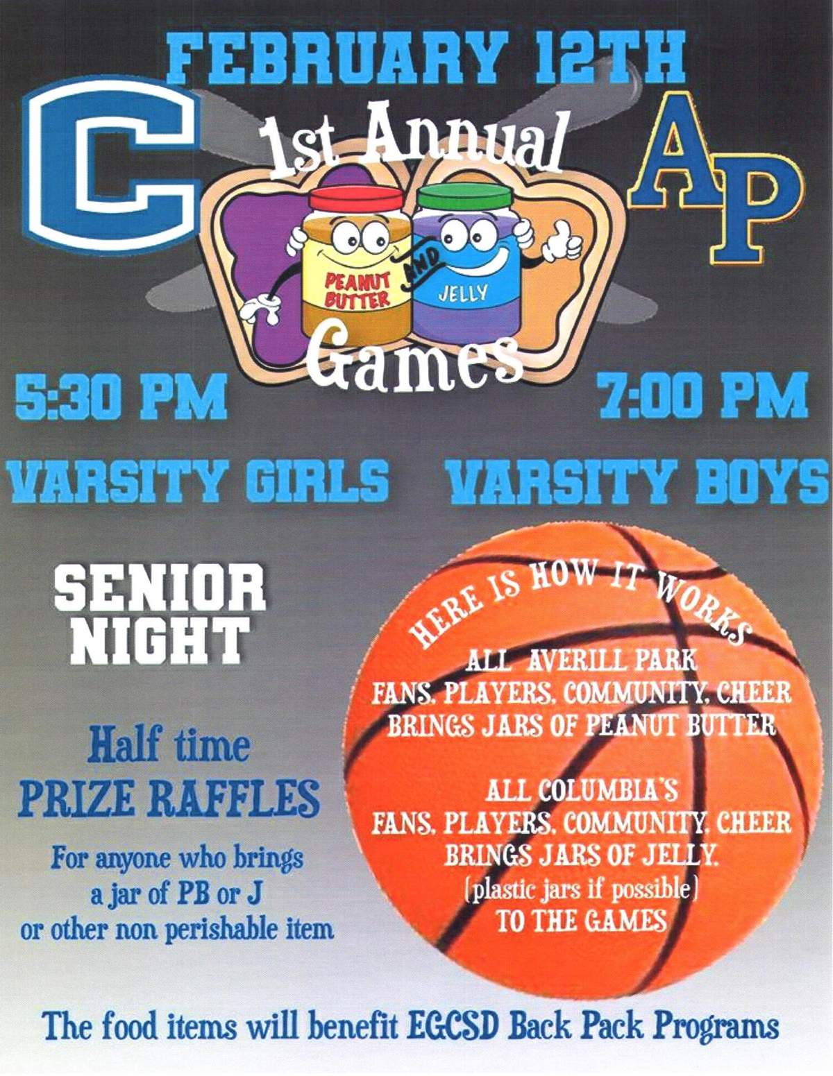 Columbia vs. Averill Park basketball game flyer