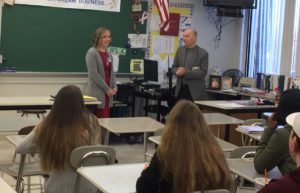 Melissa Mangini, the new managing editor of the Albany Business Review, and Mike Hendricks, the retiring editor-in-chief, speaking to Columbia High School students.
