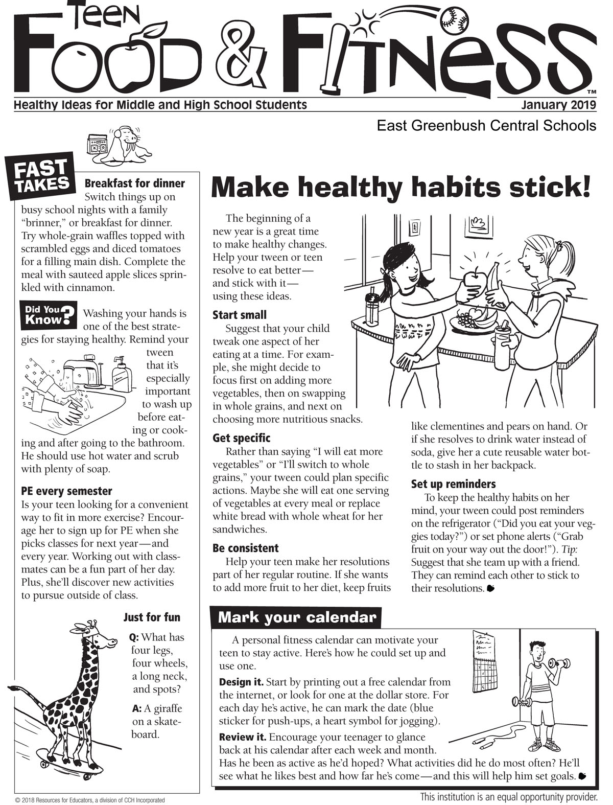 Food and Fitness Newsletter page 1