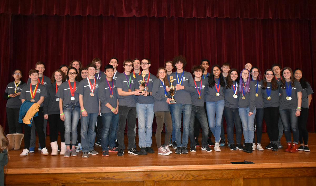 Columbia varsity and JV Science Olympiad teams at the 2019 Regional Championship