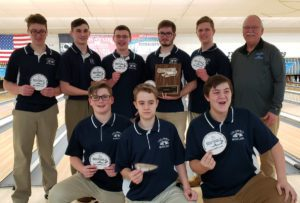 Columbia Boys' Varsity Bowling team with Sectional Championship patches