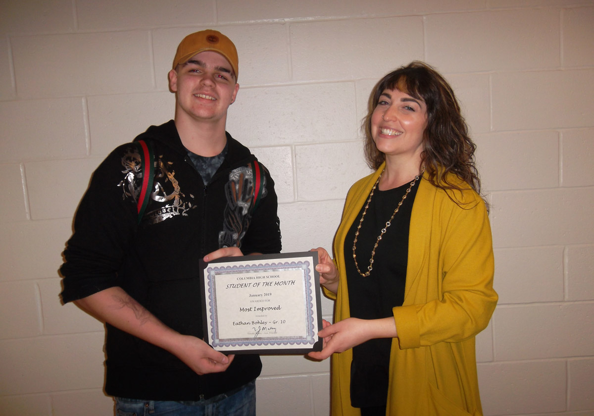 Eathan Bohley - Student of the Month