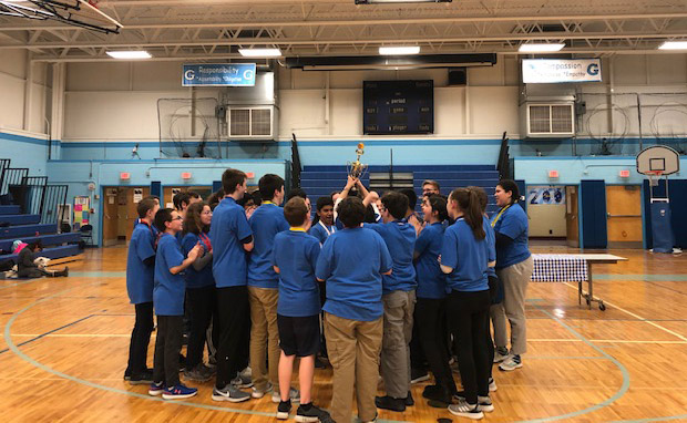 Goff Science Olympiad team holding trophy